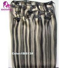 18 inch clip-in human hair extensions color blonde 7pcs human hair clip in extensions