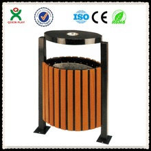 Guangzhou Manufacturer Wood and metal trash bin recycling garbage can, wood craft trash can QX-149E