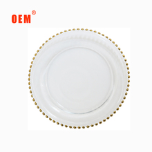 Transparent glass charger plates with silver beads for wedding home and decoration