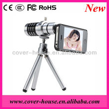 New Arrival High quality 12X Mobile Phone Telephoto Lens For iPhone 4 4S with Tripod and case