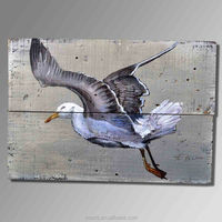 Pop wall hanging decoration flying animal oil painting of birds wood craft oil painting