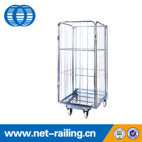 Foldable Steel zinc finish storage roll cages for hot sale