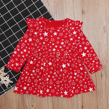 Hot Toddler Baby Girls Long Sleeve Star Print Party Princess Dress Clothes New Arrival kids Christmas red cotton dress Clothes