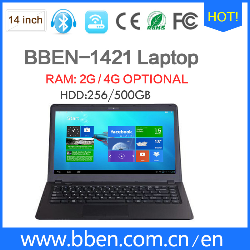 Cheapest 14 inch netbook dual core 2G/4G RAM 500G Intel celeron N2840 laptop