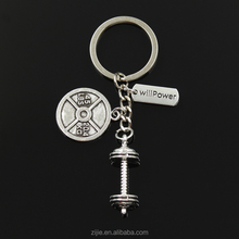 1Pc Sports Barbell Dumbbell Charm Weight Fitness Weightlifting Gym Crossfit Keyring Keychain for Lovers' Men Key Ring Accessorie