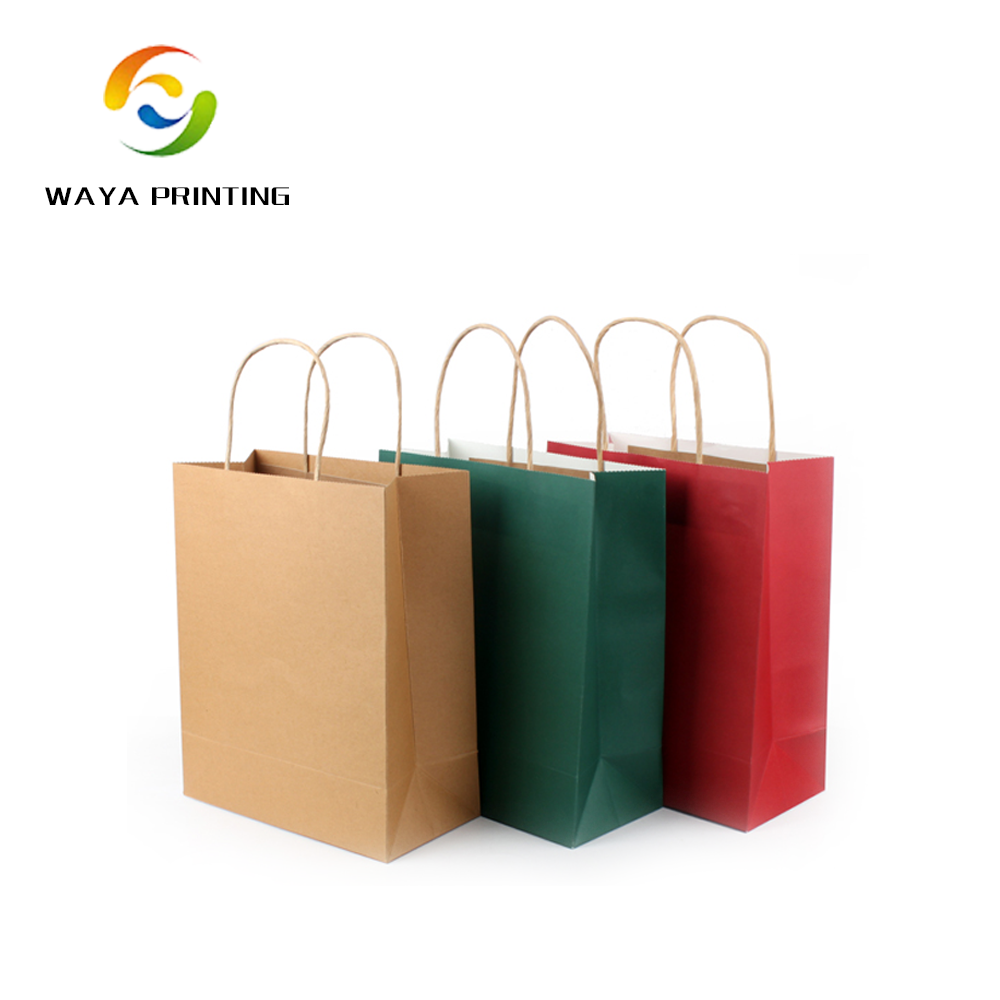 Personalized custom size Twist rope kraft paper bag with handle