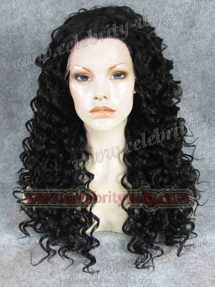 Cheap!! Natural hair synthetic silk top lace front wig Newly arrival