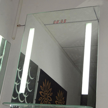 Framless Wall Mirrors Lighted with Digital Clock