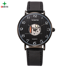 Round dial case leather strap decorate your own wrist watch