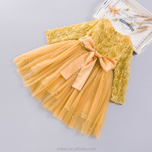 high quality flower yellow long sleeve fashion fancy party dress design kid latest children girl dress