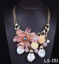Flower crystal exaggerated fashion droplets tassel clavicle short chain