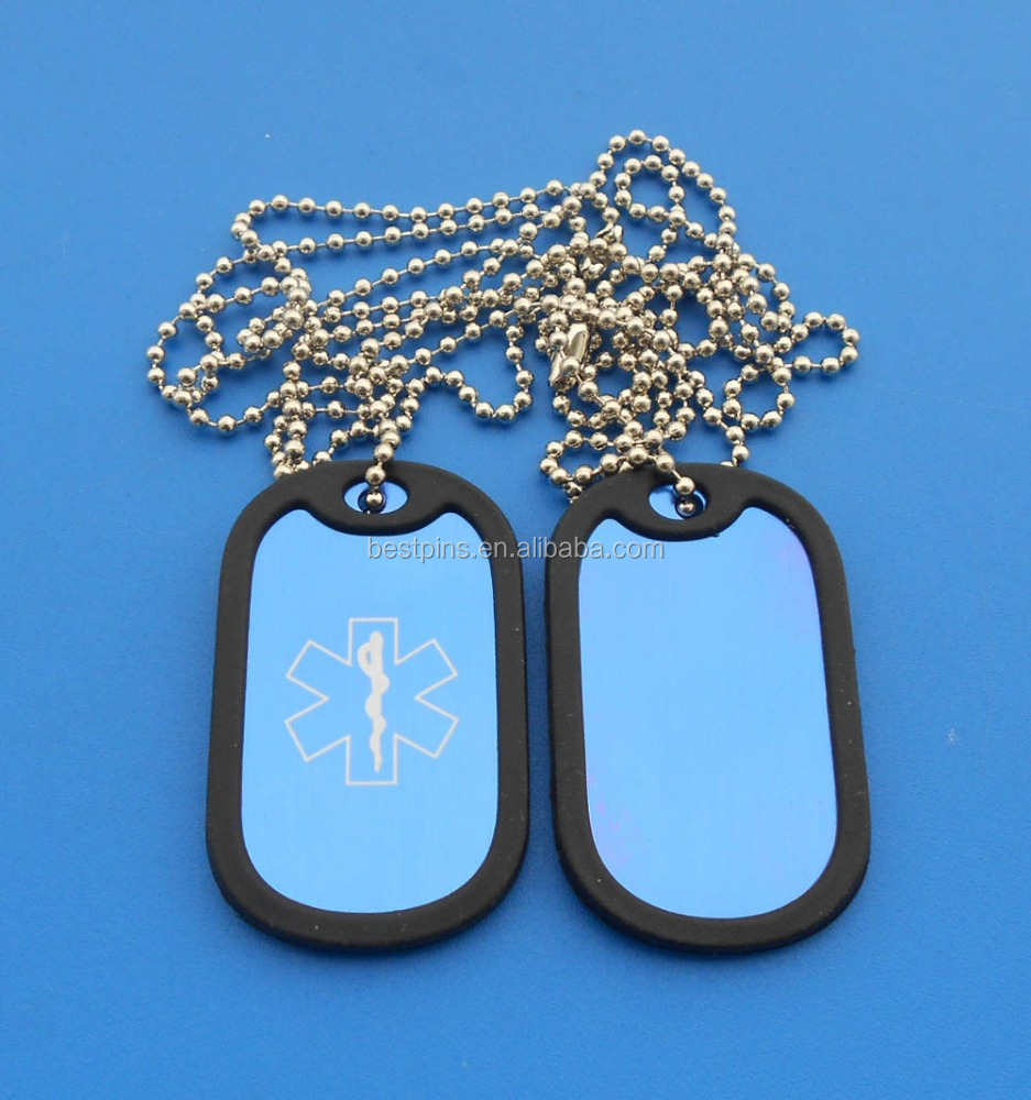 Alert Anodized Aluminum Medical Silicone Kids Dog Tag - Blue