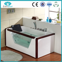 Pure acrylic new material white color square shape cheap acrylic whirlpool massage bathtub