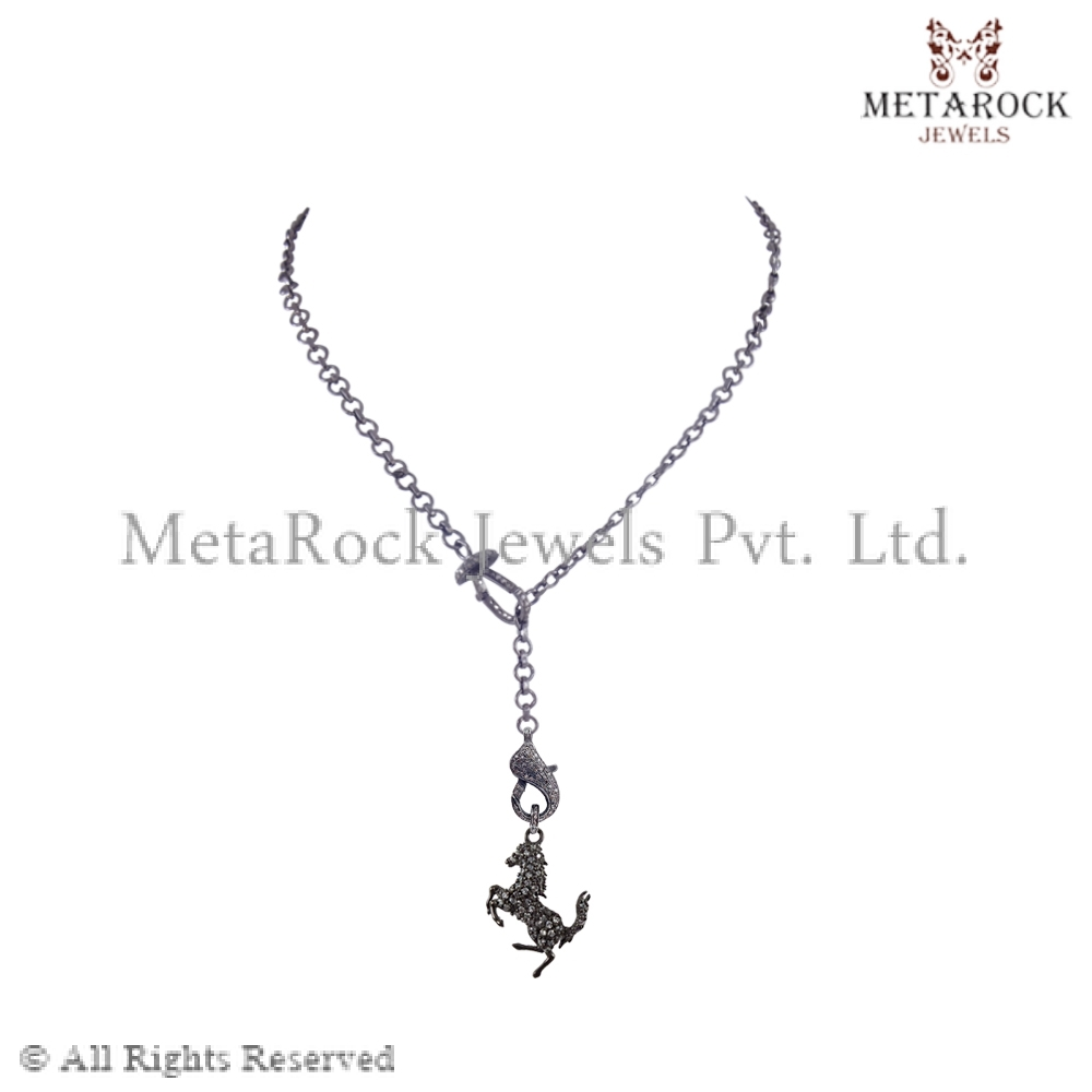 Micro Pave Diamond Lobster Clasp Lock Necklace Horse Pendant Necklace Animal 925 Sterling Silver Necklace Women Jewelry