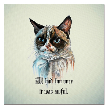 Wholesale Angry Cat Illustration Canvas Printing I had Fun Once It Was Awful Animal Picture Canvas Artwork