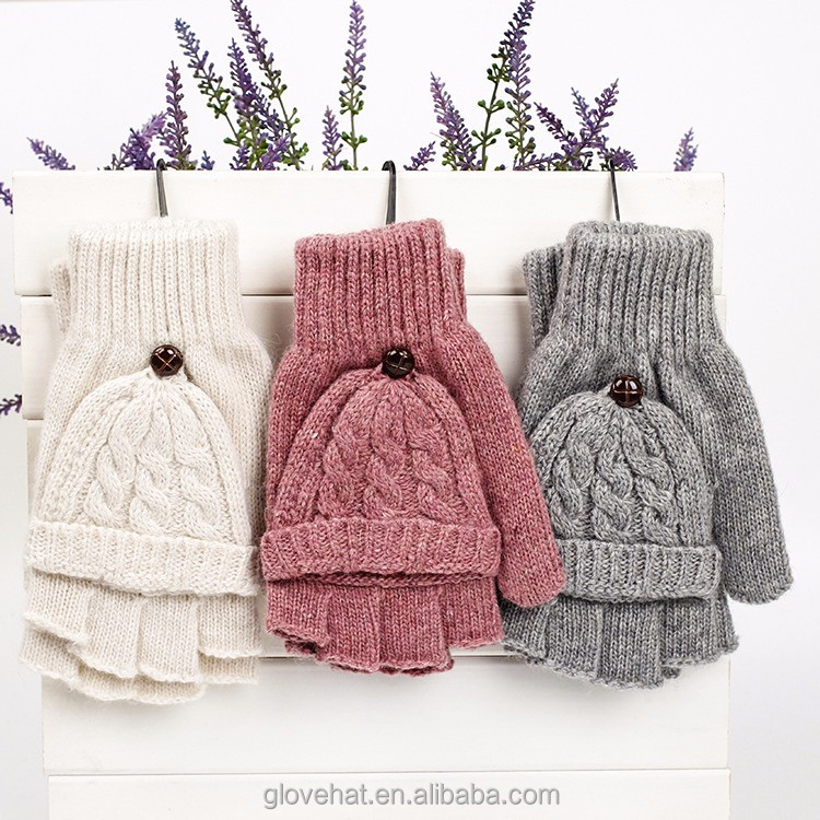 2018 YIWU New Style hot sale YIWU TB-<strong>1040</strong> Warm Knitted Gloves Convertible Fingerless Gloves With Mitten Cover