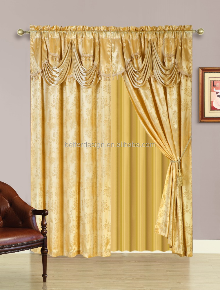 2 PCS Western Style Fringe Jacquard Curtain In Luxury Valance With Back And 2 Tassels