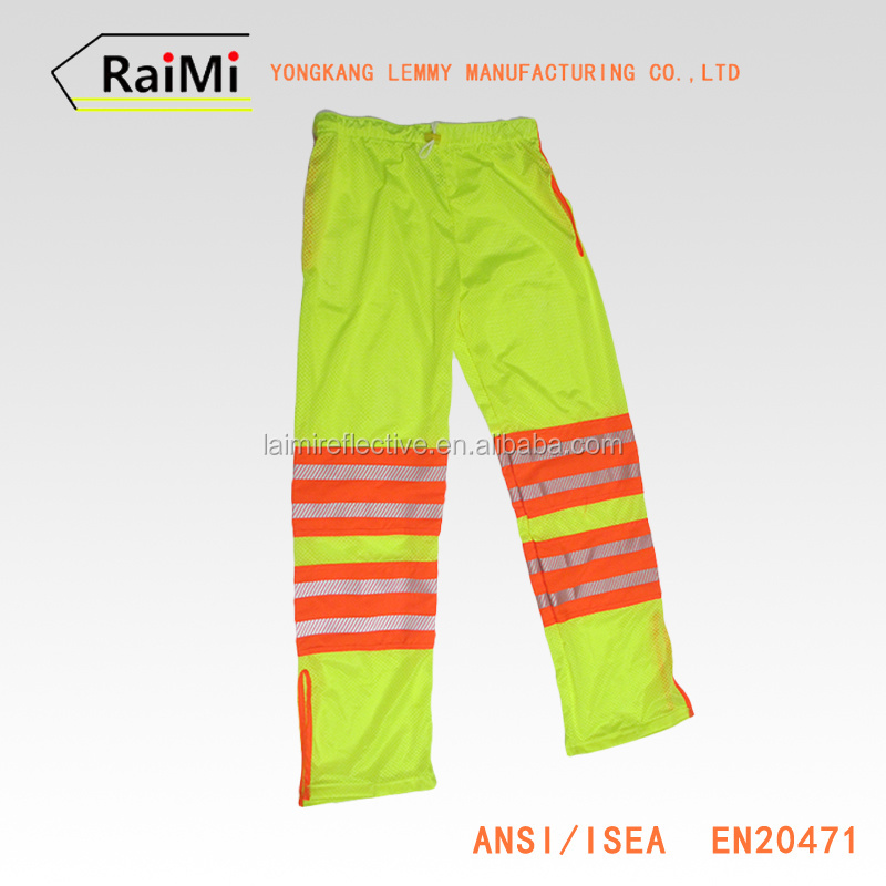 New Design Fluorescent Yellow Draw String Reflective Pants Sport Wear Clothing Waterproof Running Sport Pants