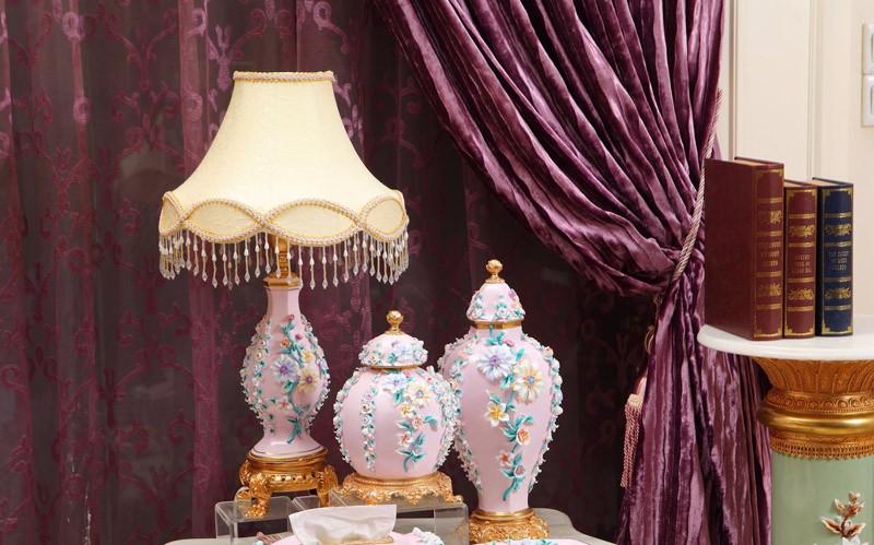 Chapeamento de ouro artesanato de base europeia quatro conjuntos de casa enfeites de cerâmica decoração