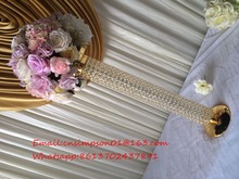 gold plated crystal wedding flower stand