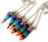 Newest for 2015 Crystal Meditation Yoga Energy 7 Chakra Necklace BNTN6010