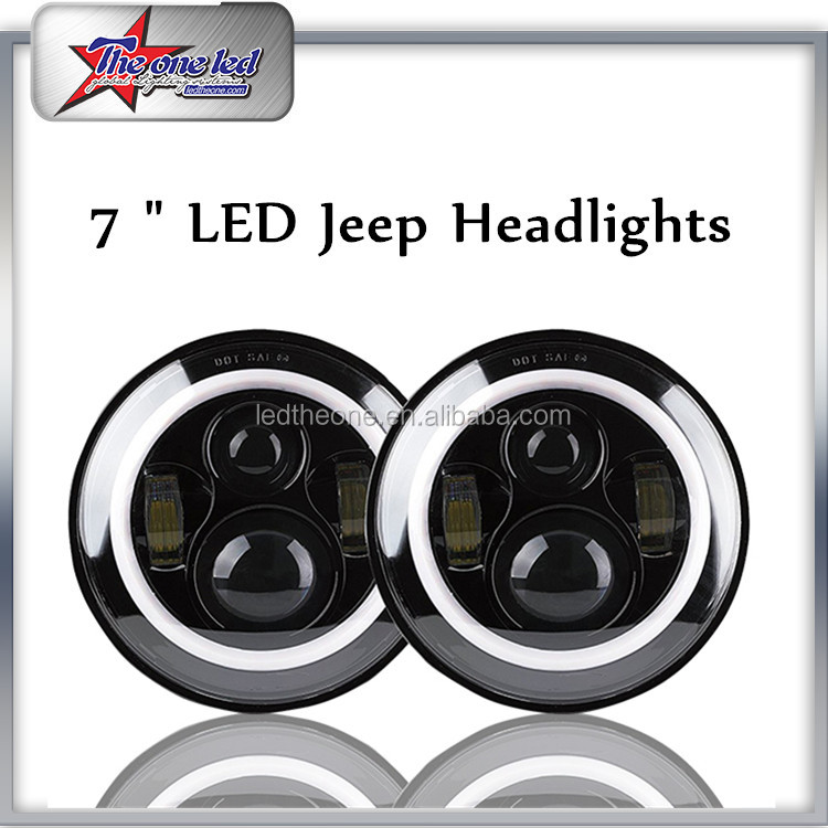 "DOT/ SAE/ E-mark/ROHS Jeep headlight 7"" Round 6000LM LED Headlamps With Hi/low beam For Jeep Wrangler CJ/TJ/JK Truck"