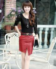 Women's Casual Synthetic Leather Irregular Sleek Dress Skirt With Belt