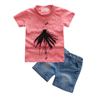 Baby Girls 2pcs Clothes Sets T-Shirt with Denim Shorts Fashion