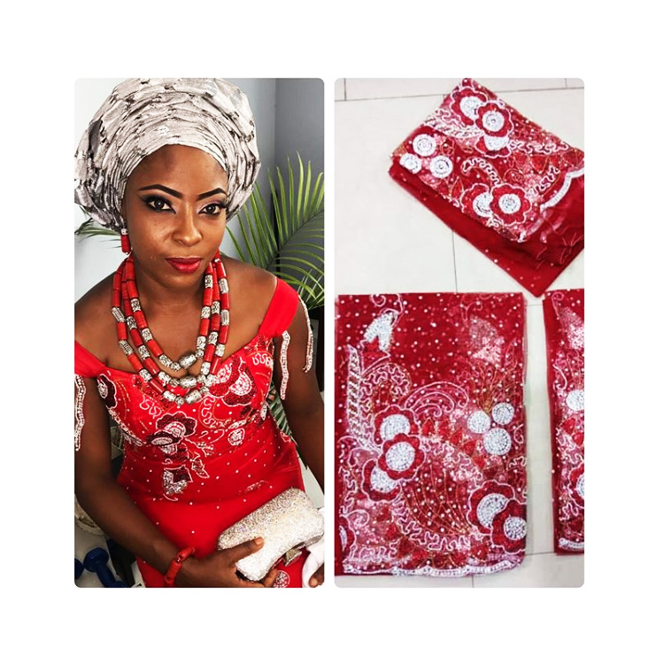 Queency Exclusive Design Heavy Beaded stoned George fabrics Nigeria Bella Naija Weddings