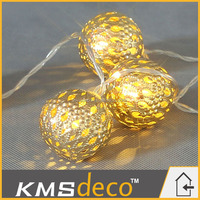 Battery operated metal ball ornament led string light christmas decorative