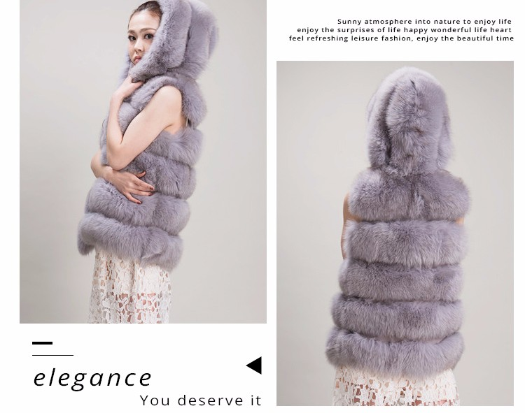Factory wholesale fashion new style fox fur sleeveless garment