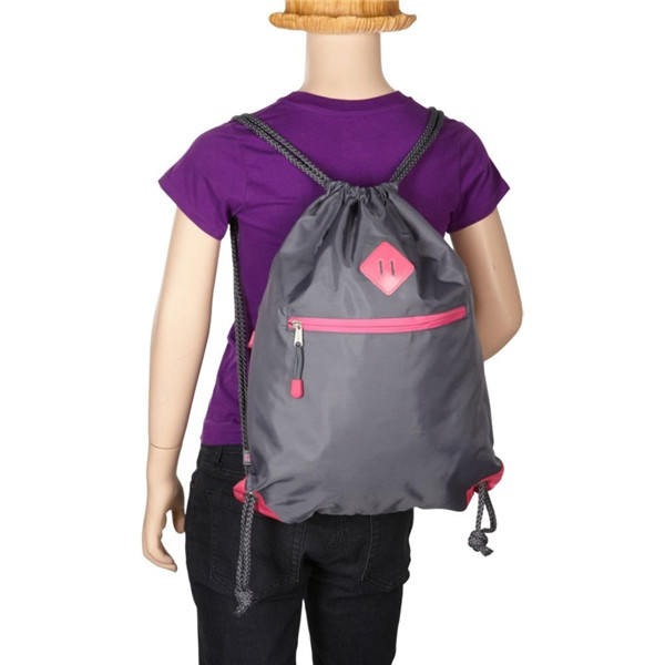 waterproof nylon gymsack sport drawstring backpack with zip pocket