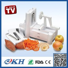 tri-blade vegetable spiral slicer for home use,price manual leafy vegetable cutter,spiral vegetable slicer as seen on tv