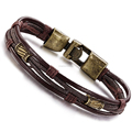 Mens Vintage Leather Wrap Wrist Band Brown Rope Bracelet