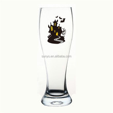 China manufacture spook house color decal Halloween pilsner beer glass