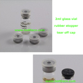 small 2ml clear vial glass bottle with tear off cap
