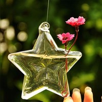 clear star shape glass vase for wedding decoration