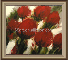 Red poppy flower adornment abstract mechanism of thick oil paintings