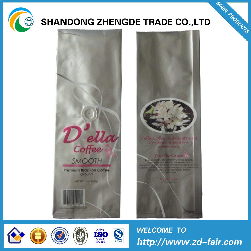 aluminum foil quad seal coffee packaging bag with valve