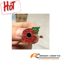 Custom promotion metal poppy pin badge with glitter