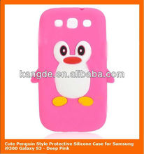 Cute Penguin Style Protective Silicone Case for Samsung i9300 Galaxy S3 - Deep Pink