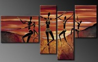 nude ladies body painting art 4 panels handmade from xiamen factory