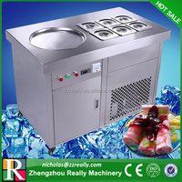Commercial rolled ice cream maker, pupolar in Thailand ice cream fryer