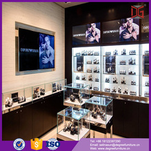 customized wall watch display case glossy black material