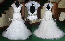 New arrival ruffle organza &crystal belt fish tail sexy lace wedding dress