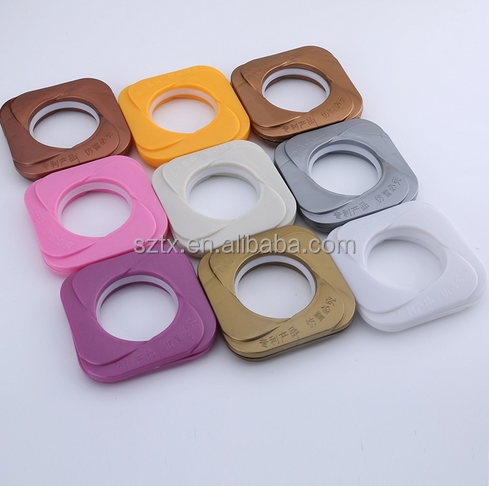 new design colorful plastic square curtain ring