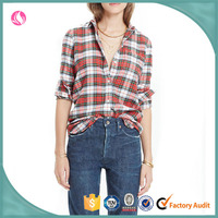 2016 Wholan lady oversized red plaid shirts woman clothes woman high quality shirts
