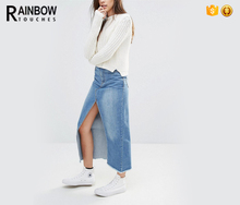 OEM wholesale denim long skirt with high split front