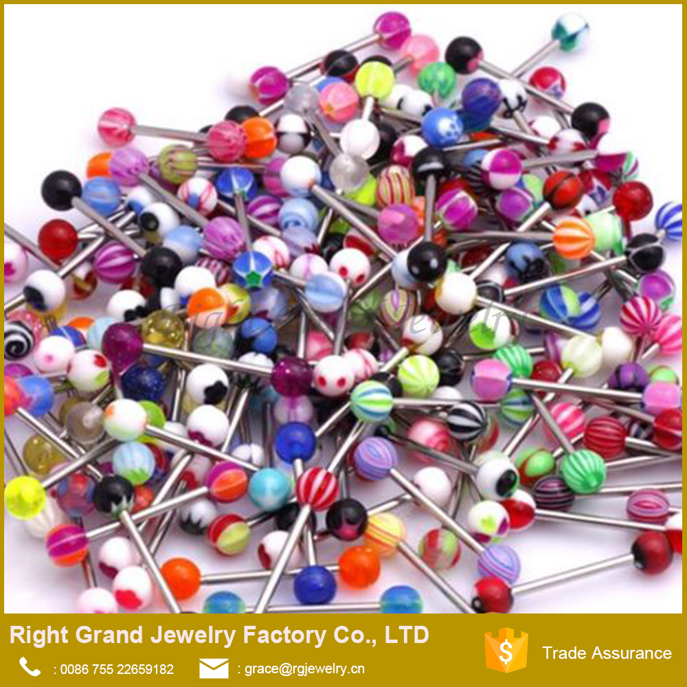 Assorted Mixed Designs Logo Printed UV Acrylic Piercing Ball Tongue Ring