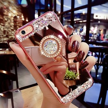 Mirror Case for iPhone 8 With Ring Stand Holder Luxury Crystal Rhinestone Soft Bling Diamond Glitter Makeup Case For iphone x